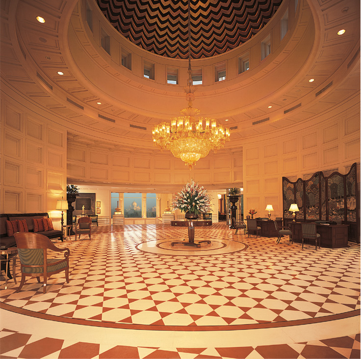 Amarvilas grand lobby with framed view of Taj, Agra